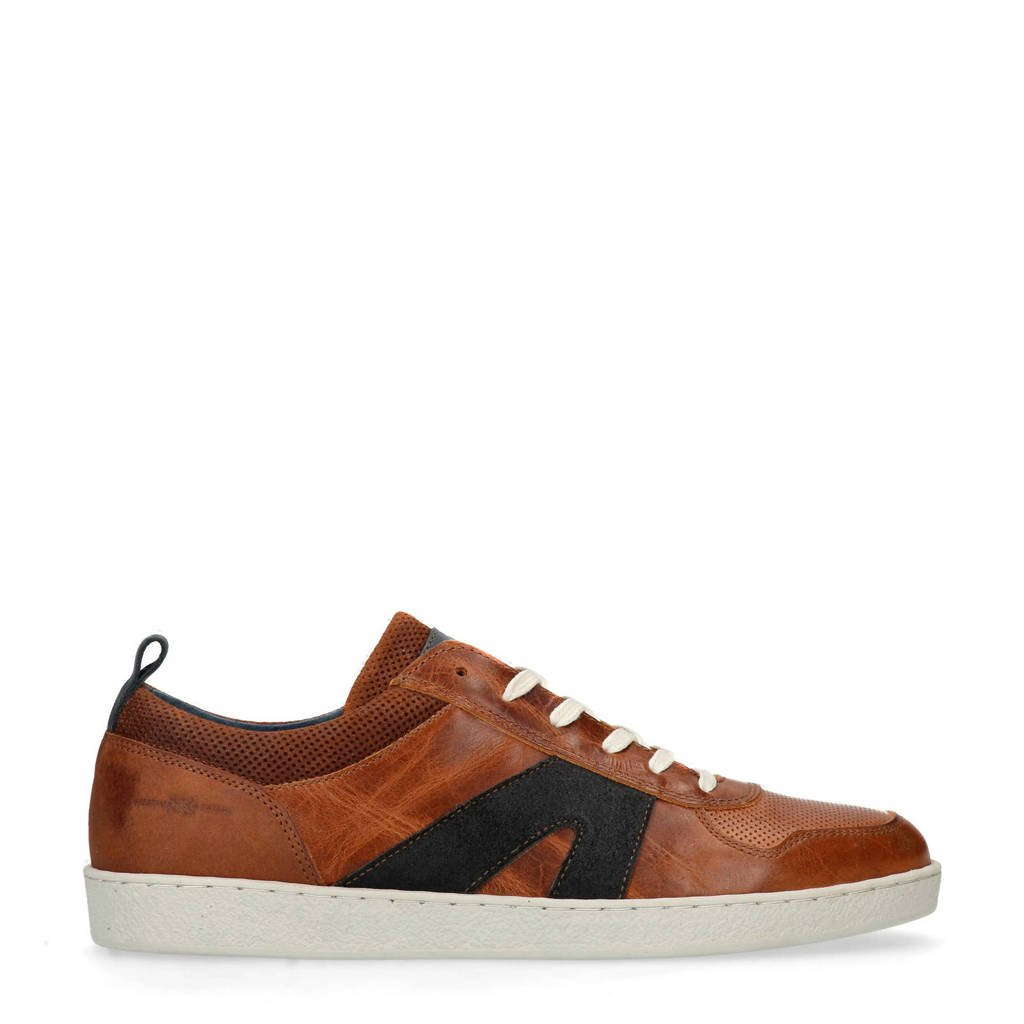 Manfield  leren sneakers bruin, Bruin