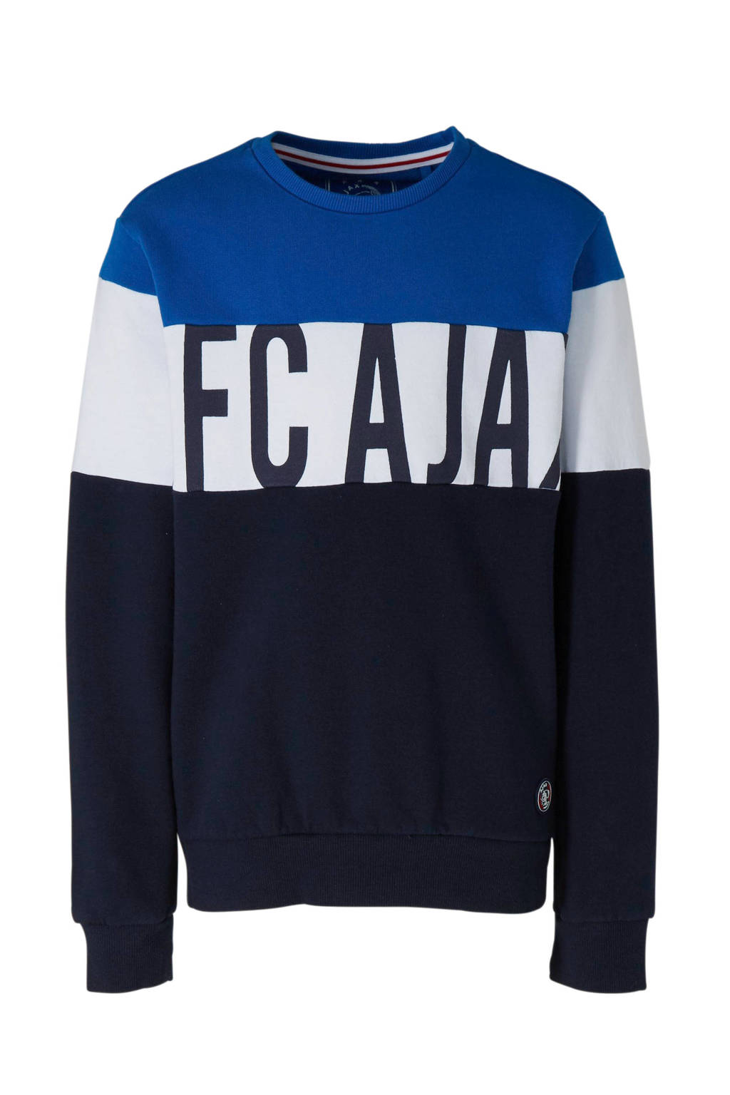 Ajax sweater met logo donkerblauw, Donkerblauw/blauw/wit