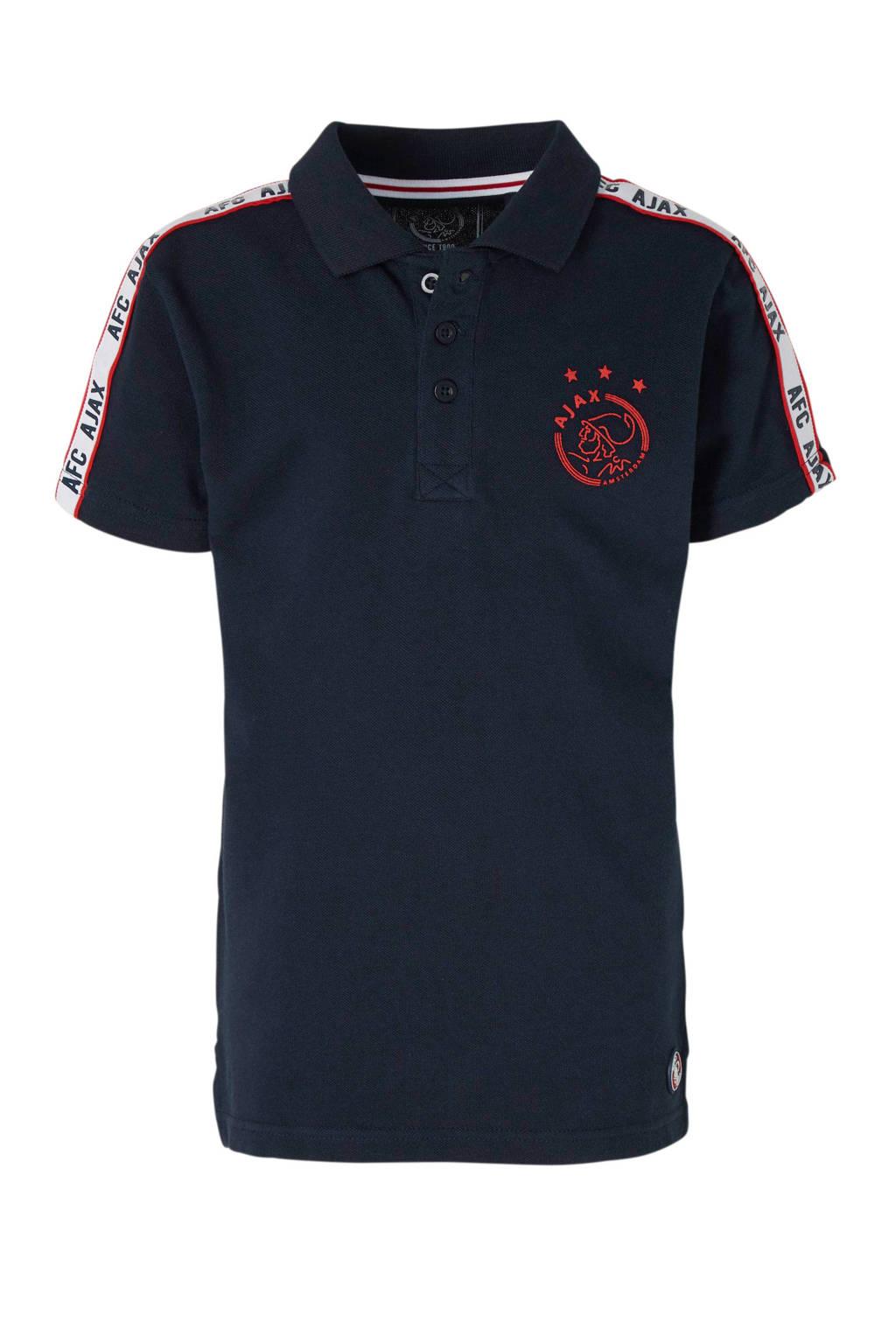 Ajax piqué polo met logo en contrastbies donkerblauw, Donkerblauw