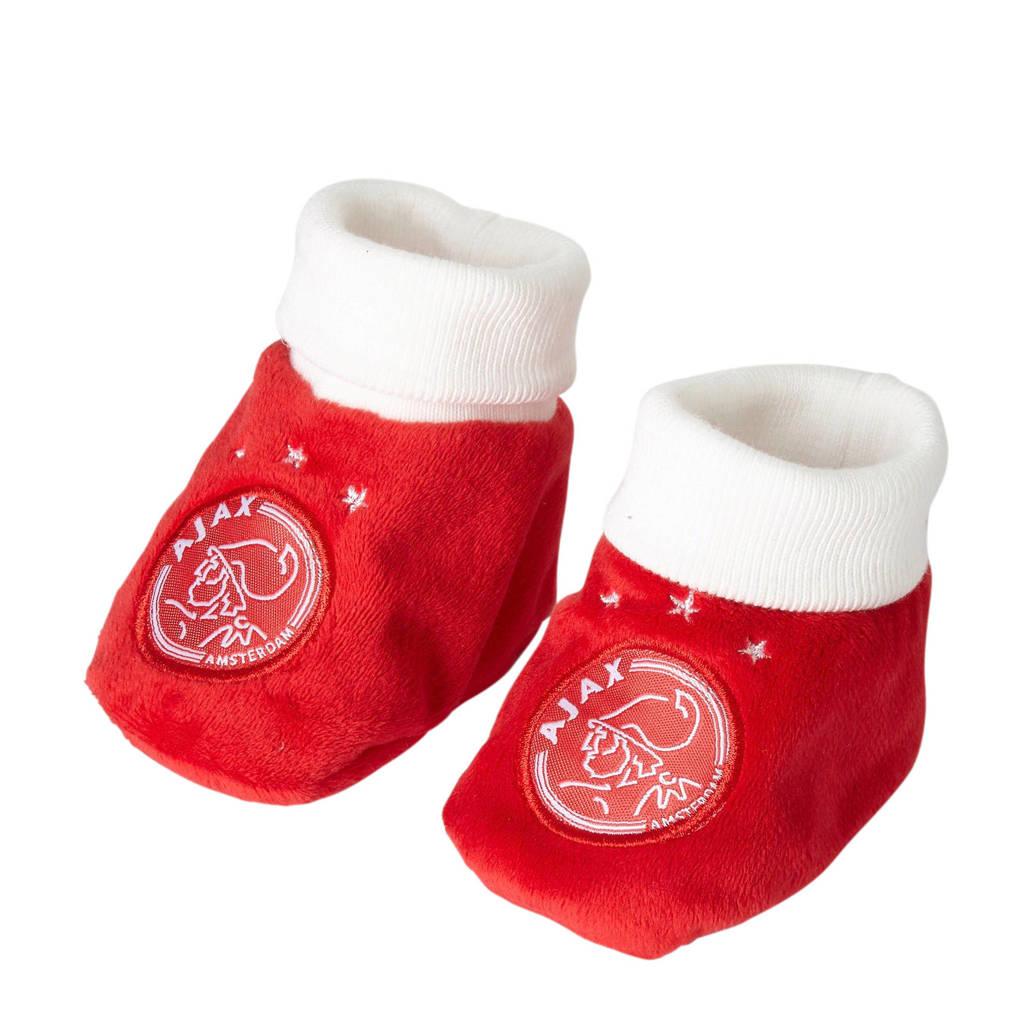 Ajax baby slofjes met logo rood/wit, Rood/wit