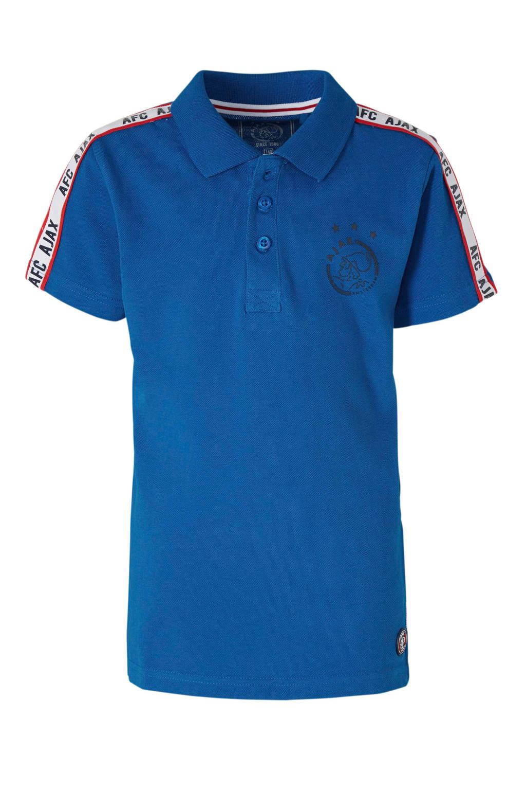 Ajax piqué polo met logo en contrastbies kobaltblauw, Kobaltblauw