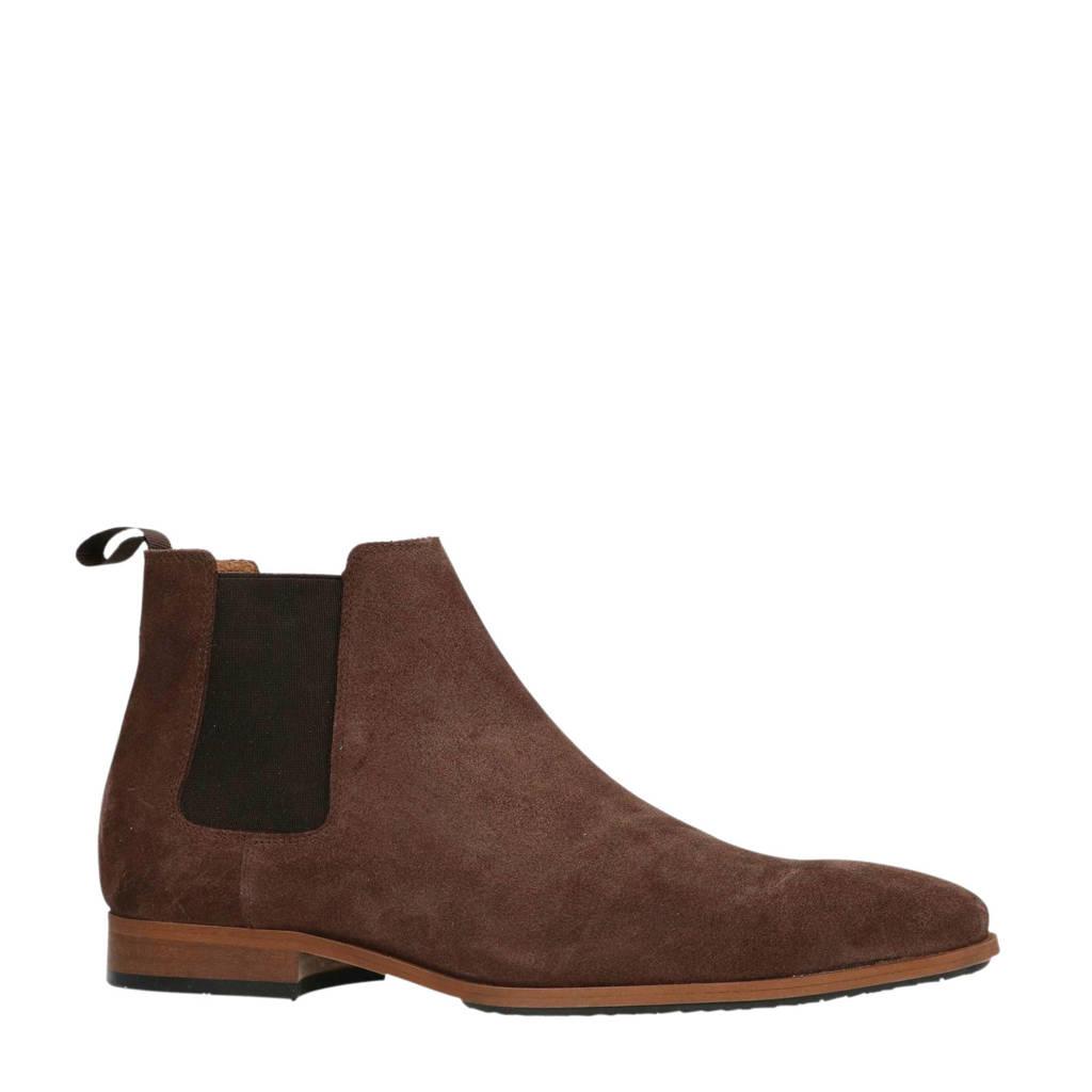 Manfield suède chelsea boots bruin, Bruin