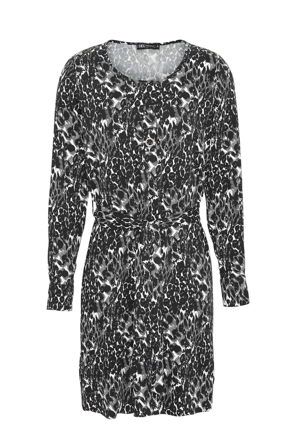 Didi blousejurk met all over print zwart, Zwart