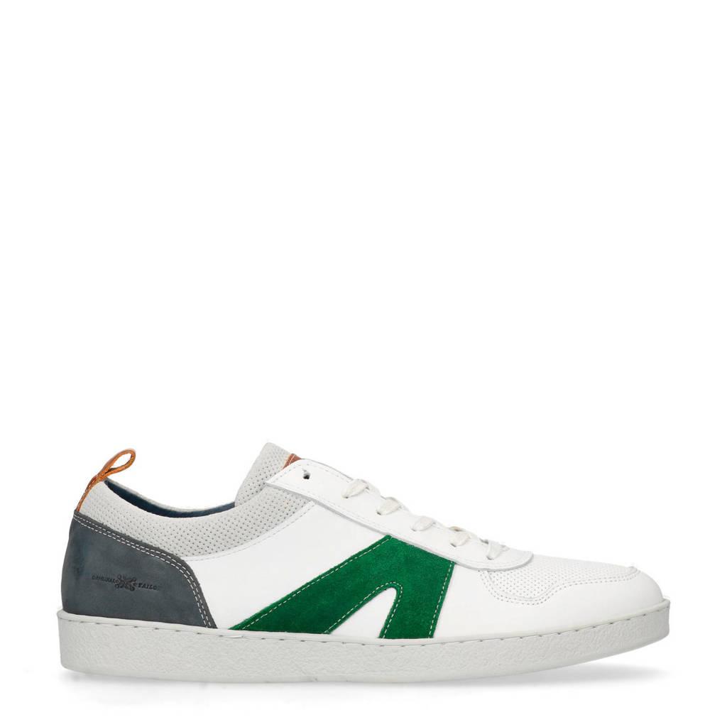 Manfield  leren sneakers wit, Wit