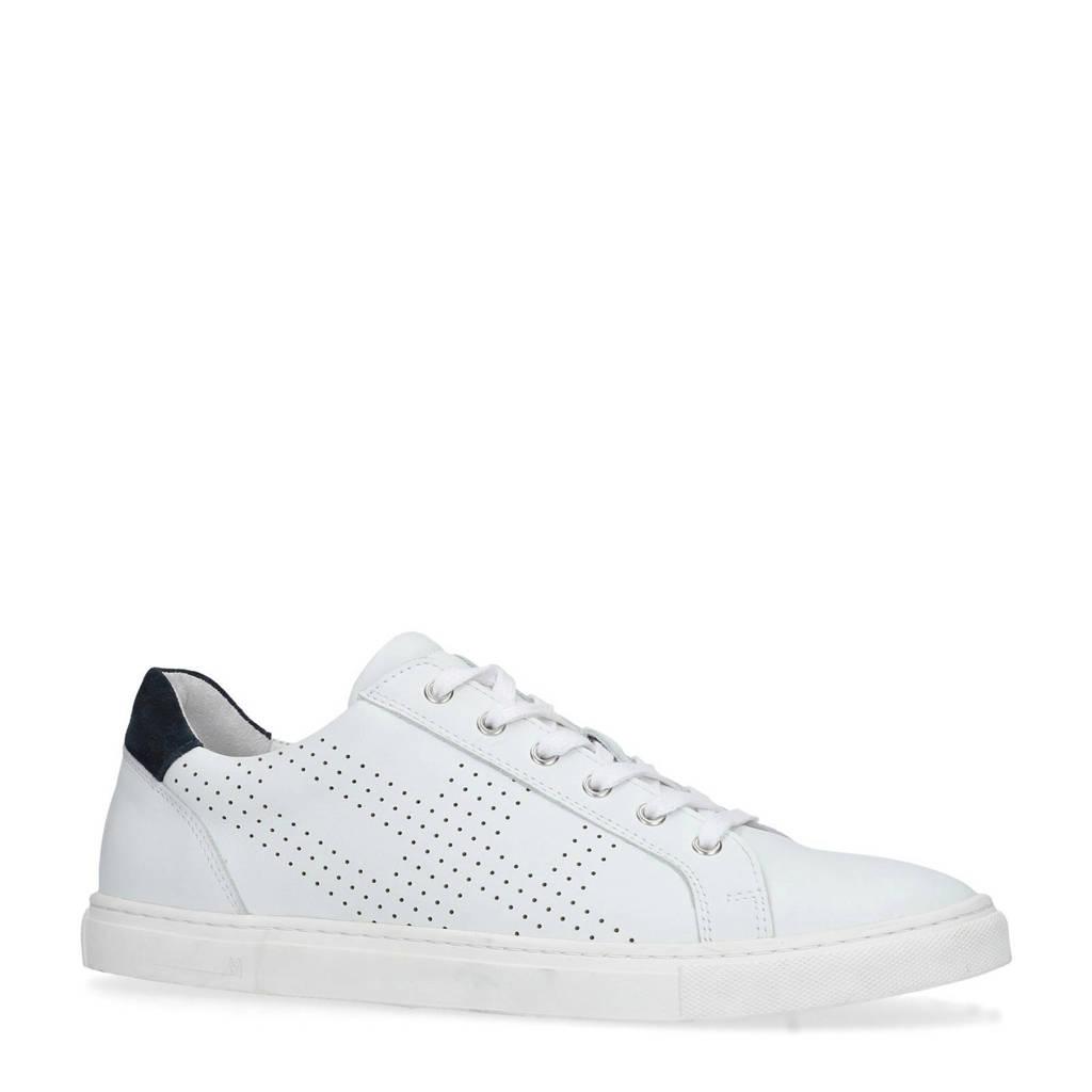 Manfield  leren sneakers wit, Wit/blauw