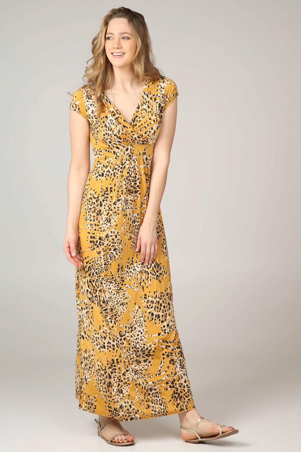 Cassis jurk lang met panterprint, Okergeel/zwart/bruin