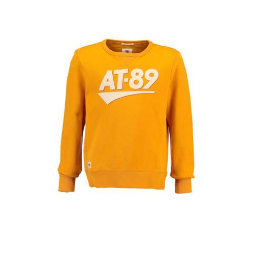 America Today Junior sweater Stan met tekst oker