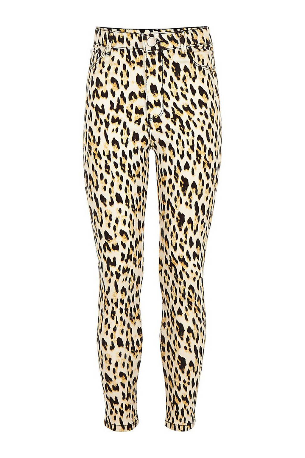 River Island high waist skinny jeans met panterprint beige, Lichtbeige