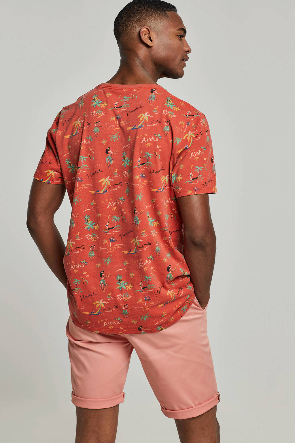 Scotch & Soda T-shirt met all over print rood, Rood