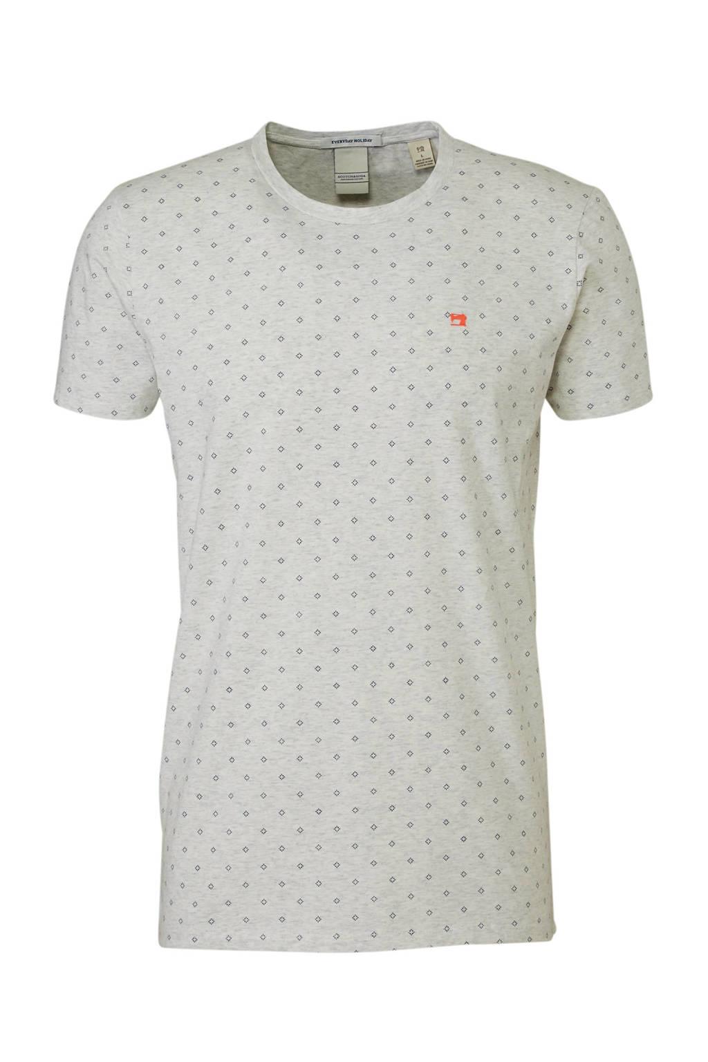 Scotch & Soda gemêleerd T-shirt met print grijs, Grijs
