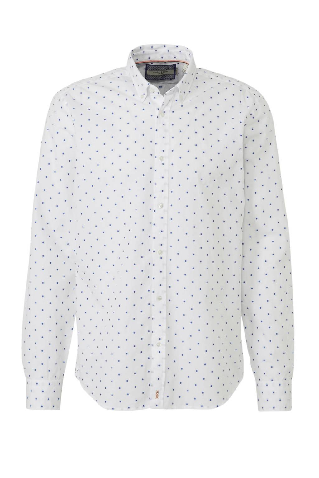 Scotch & Soda regular fit overhemd met print, Wit/blauw