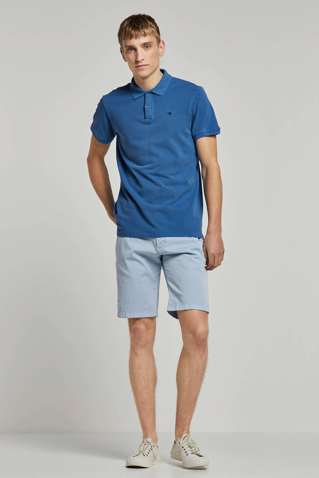 Scotch & Soda regular fit polo blauw, Blauw