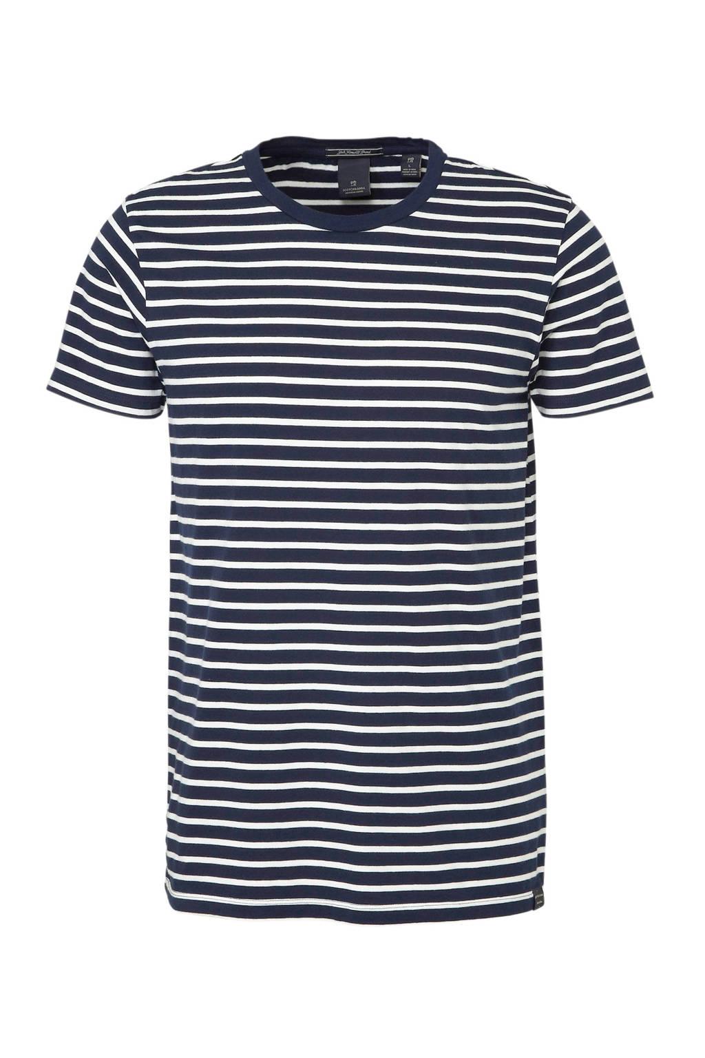 Scotch & Soda gestreept T-shirt marine, Marine/wit