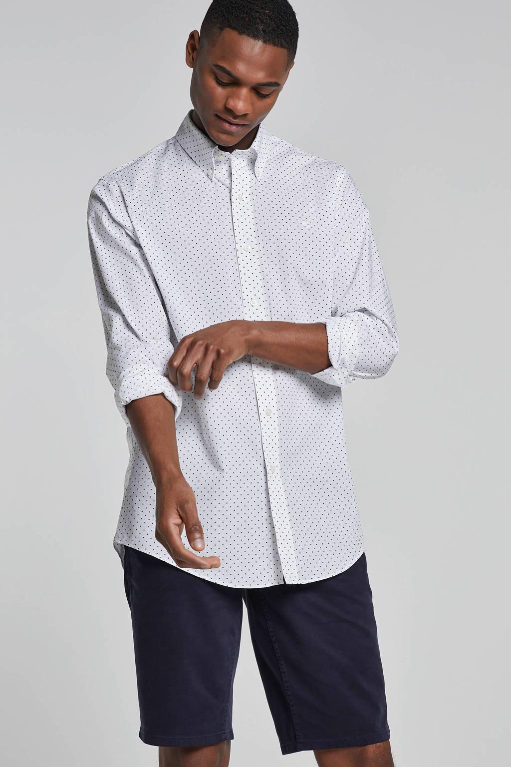 POLO Ralph Lauren gestipt regular fit overhemd wit, Wit/zwart