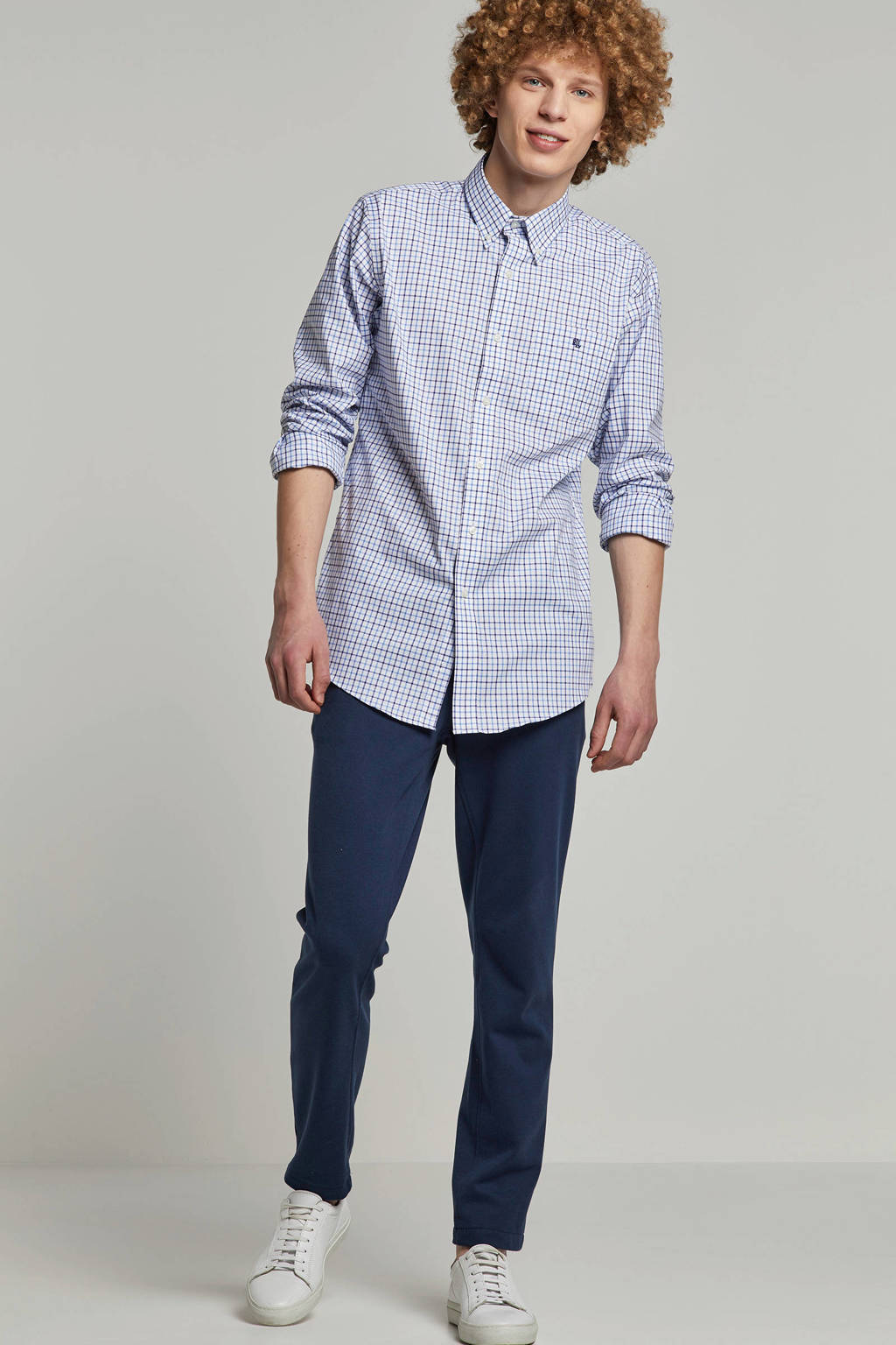POLO Ralph Lauren geruit slim fit overhemd blauw, Wit/blauw
