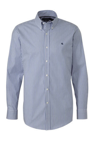 gestreept regular fit overhemd blauw