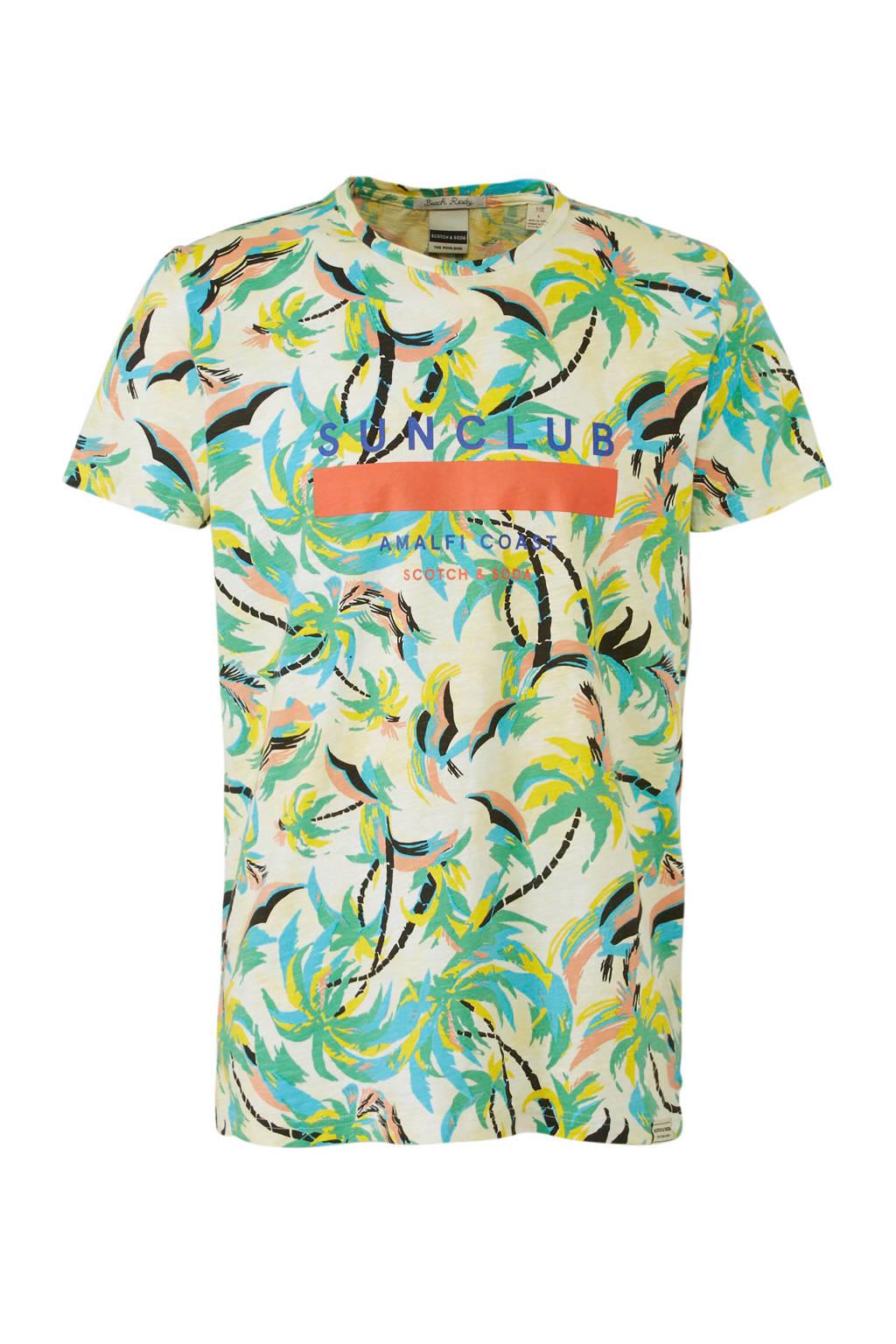 Scotch & Soda T-shirt met all over print, Groen/multi-kleuren