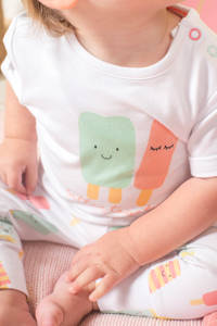 Jollein baby T-shirt + broek Happy icecream, Wit/mint/roze