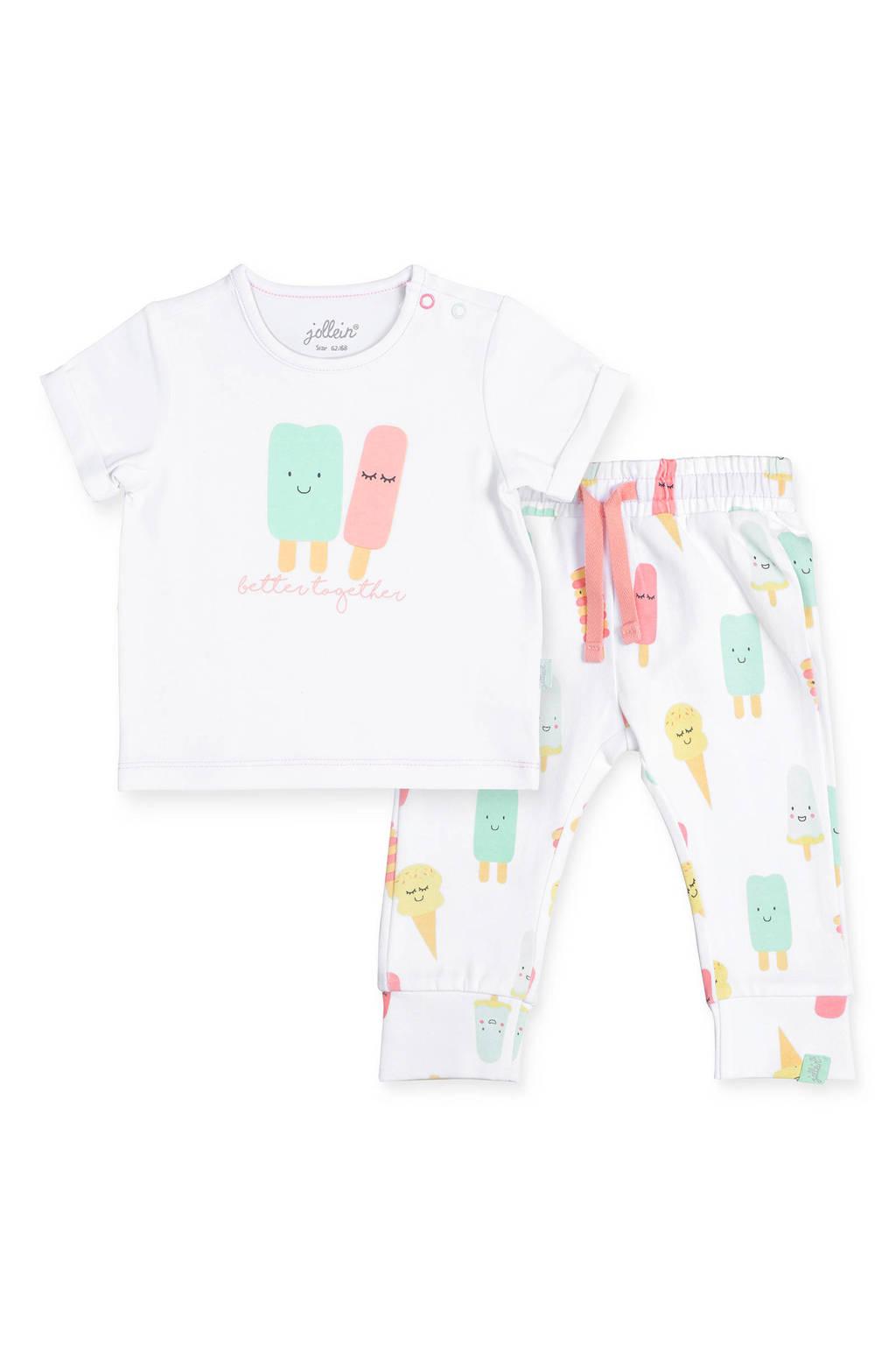 Jollein baby T-shirt + broek Happy icecream, Wit/mint/roze
