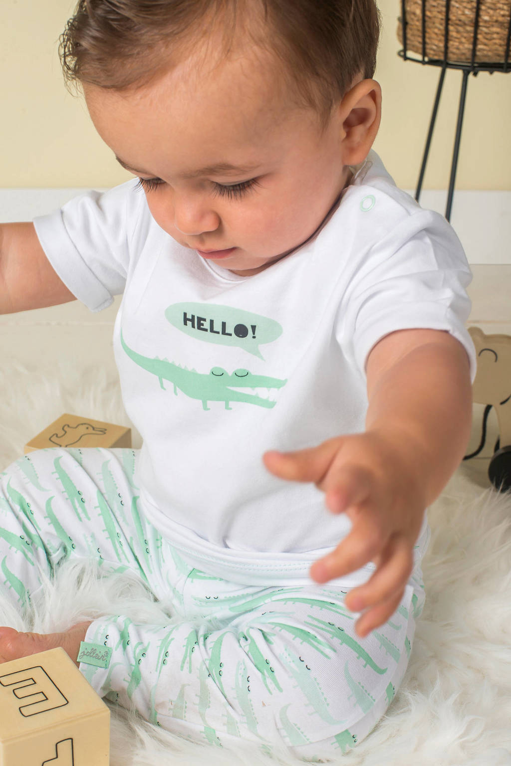 Jollein baby T-shirt + broek Happy croco, Wit/mintgroen