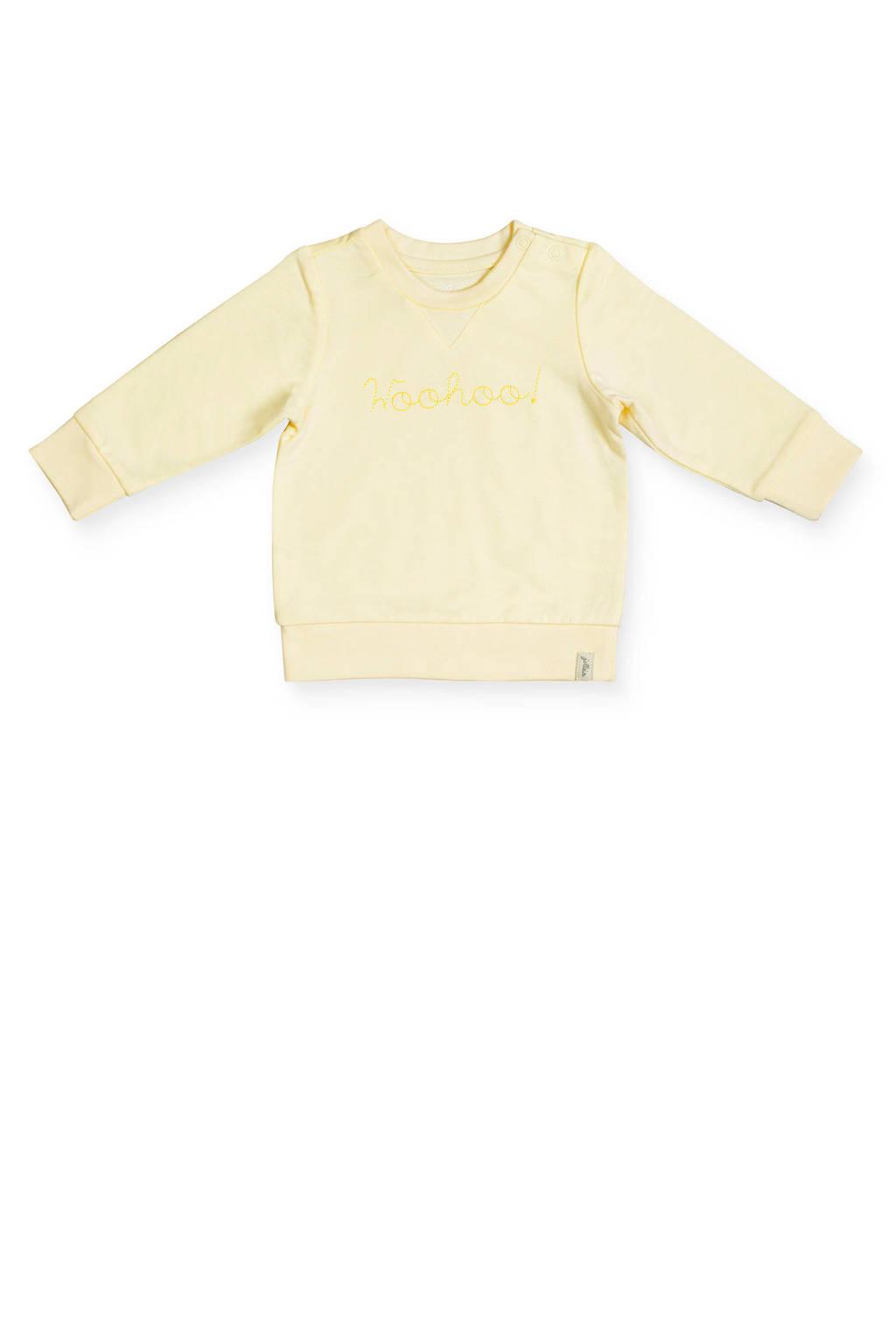 Jollein baby sweater met tekst geel, Geel