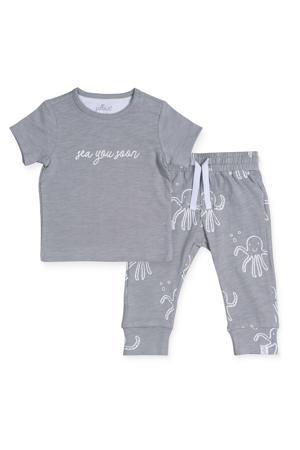 baby T-shirt + joggingbroek Octopus grijs