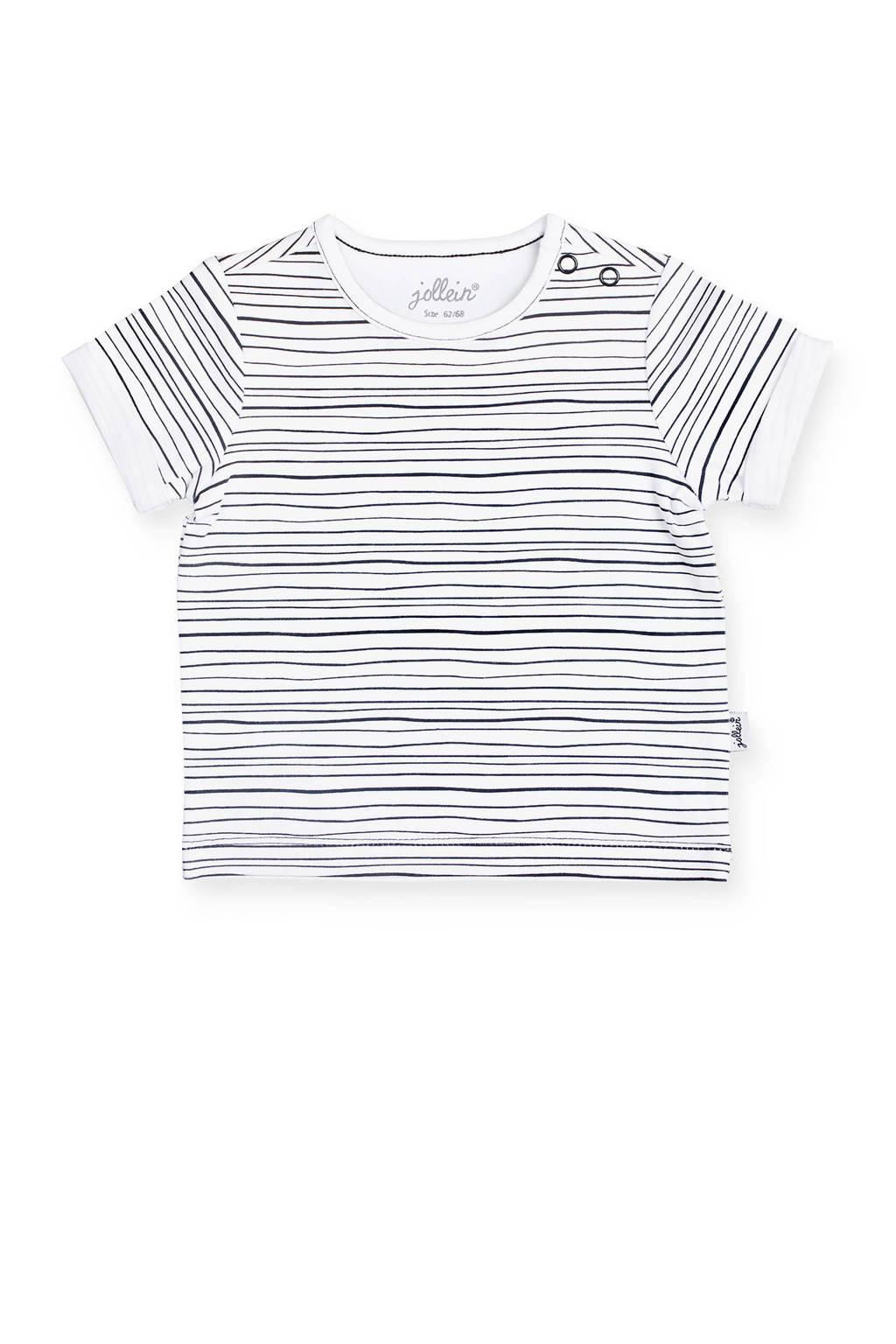 Jollein gestreept baby T-shirt zwart/wit, Zwart/wit