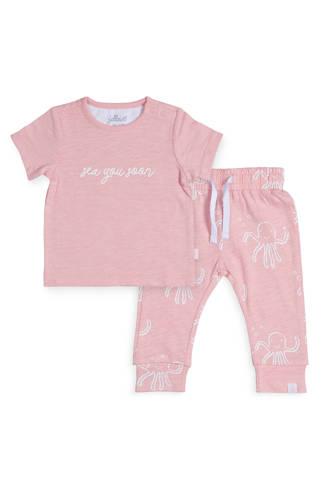 baby T-shirt + joggingbroek Octopus roze