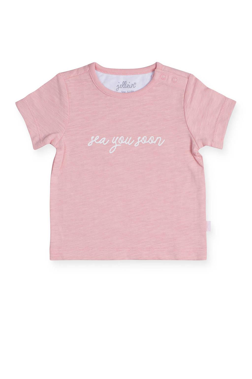 Jollein baby T-shirt met tekst roze, Roze