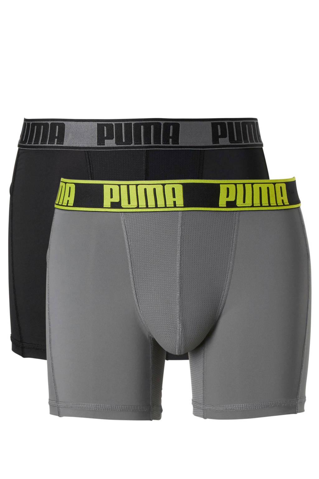 Puma Bodywear boxershort (set van 2), Zwart/grijs