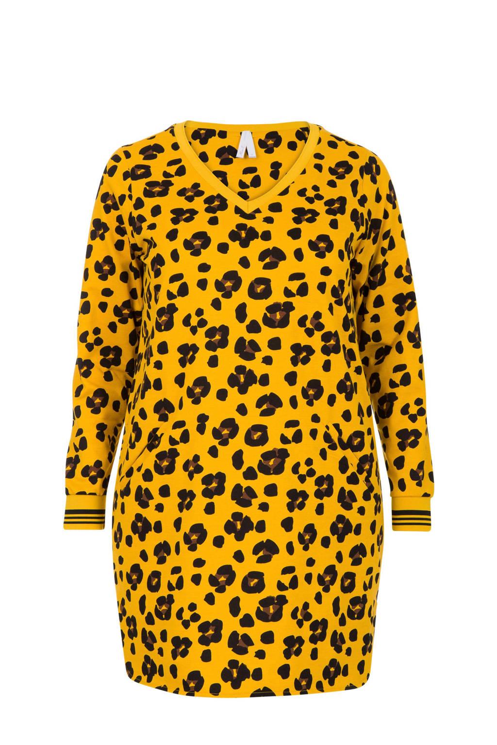 Miss Etam Plus lange sweater met panterprint geel, Geel