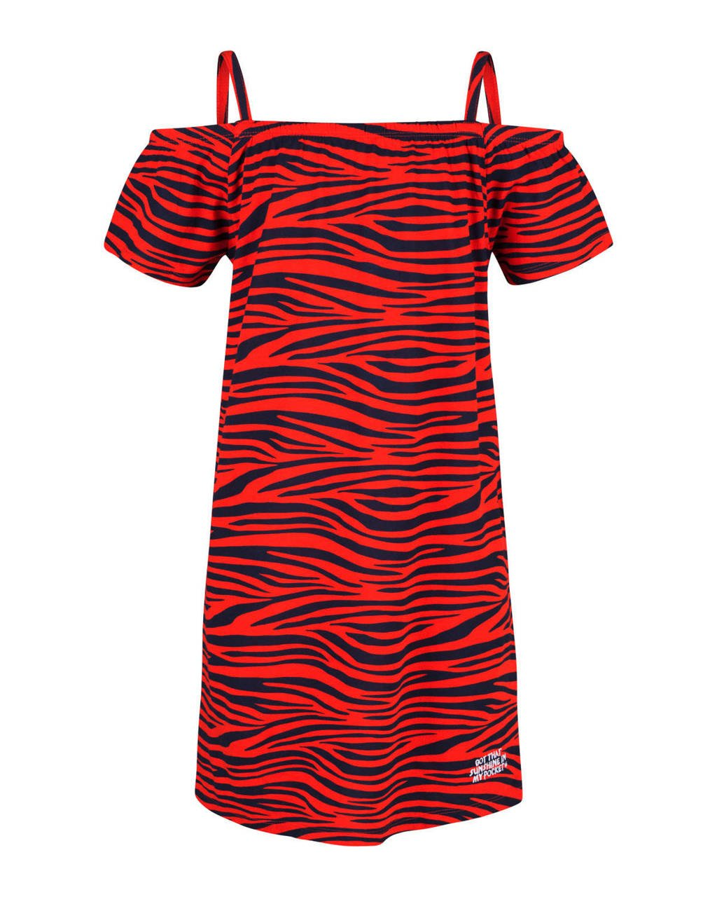 WE Fashion open shoulder jurk met zebraprint rood, Rood/zwart