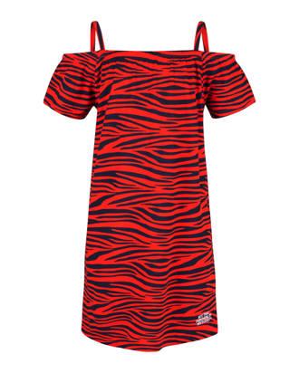 open shoulder jurk met zebraprint rood