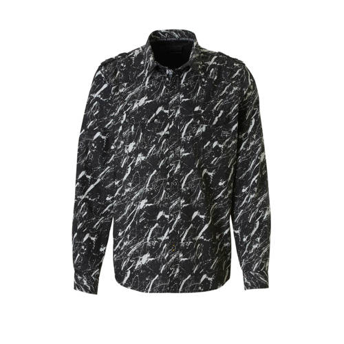 C&A Angelo Litrico regular fit overhemd met print zwart