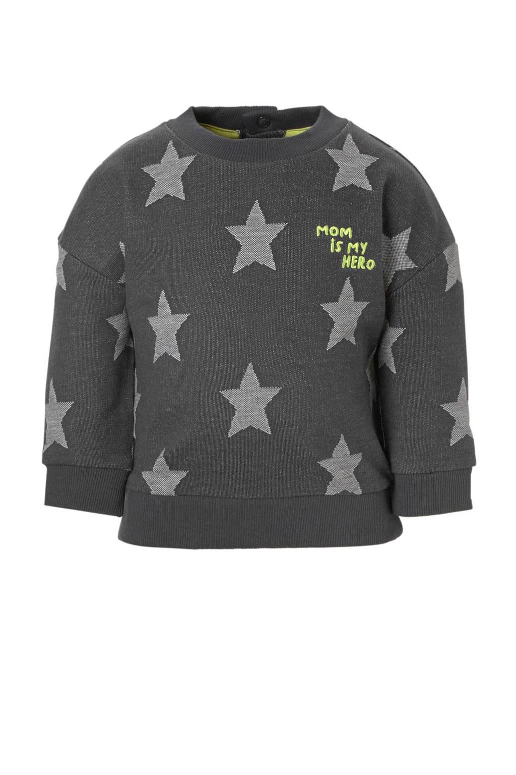 C&A Baby Club sweater met sterren grijs, Grijs