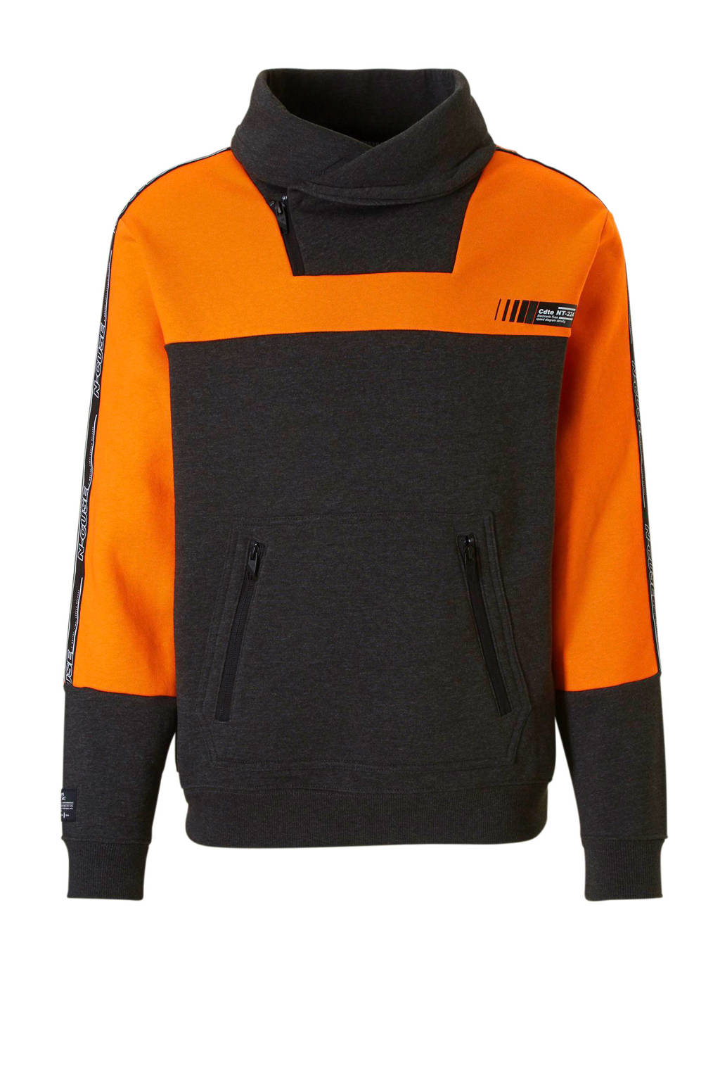 C&A Angelo Litrico gemêleerde sweater grijs, Grijs/oranje