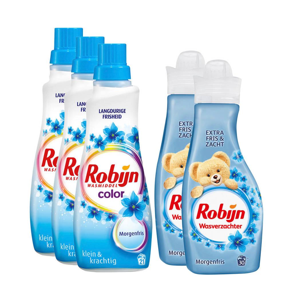 Robijn Klein & Krachtig Morgenfris wasmiddel en wasverzachter - 63 wasbeurten - vloeibaar