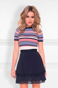 NIKKIE gestreepte top Pascal blauw/zwart/roze, Blauw/zwart/roze
