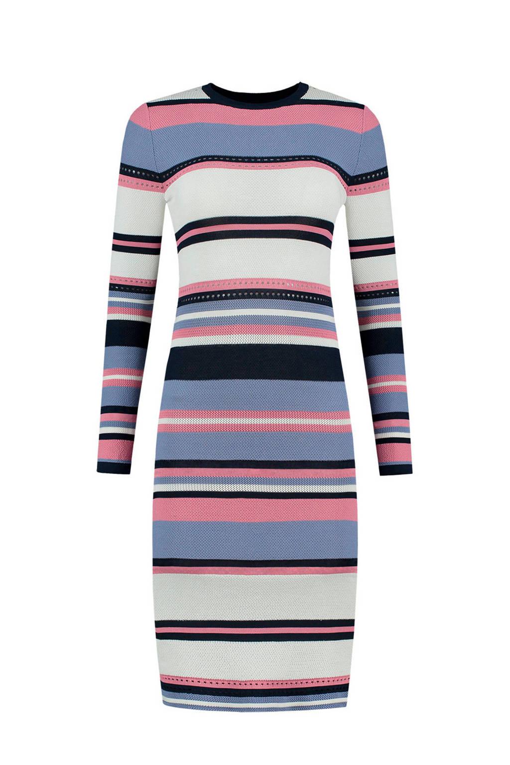 NIKKIE gestreepte jurk, Blauw/roze/zwart