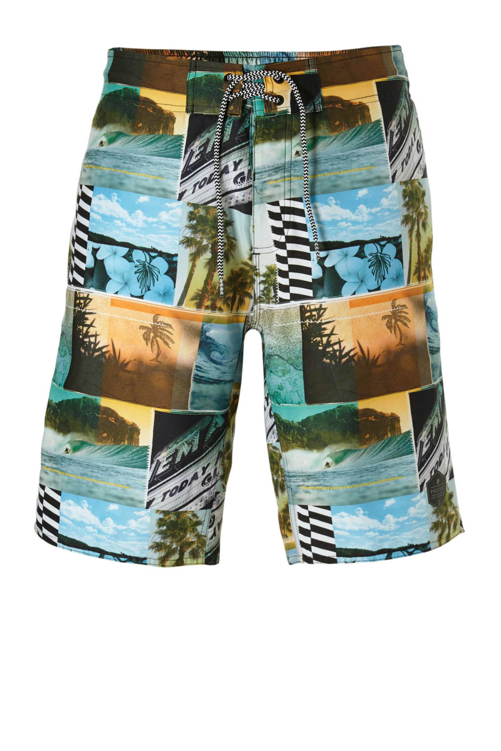 Protest boardshort in all over print groen, Groen/bruin/blauw