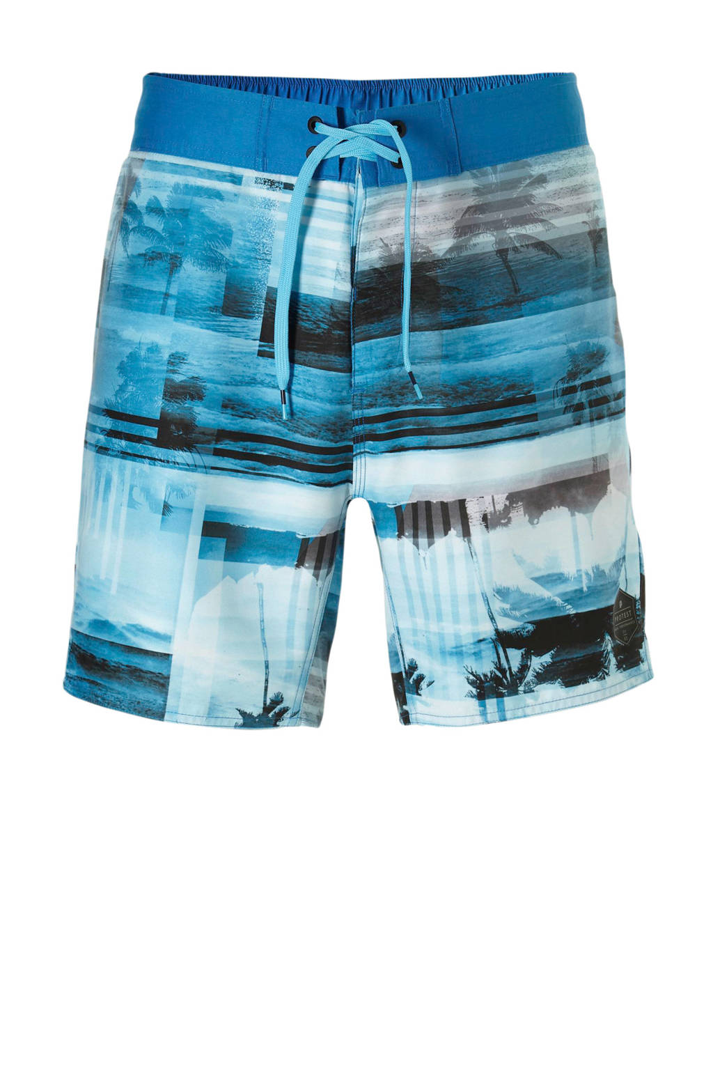 Protest boardshort in all over print grijs, Blauw/wit/bruin