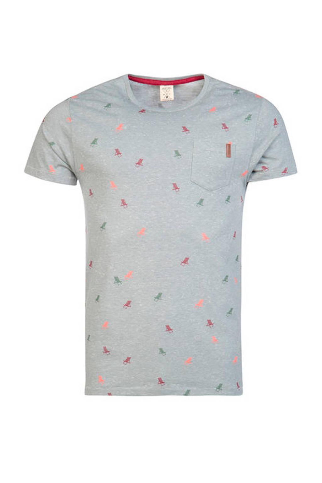 Protest gemêleerd T-shirt met print, Grijsblauw