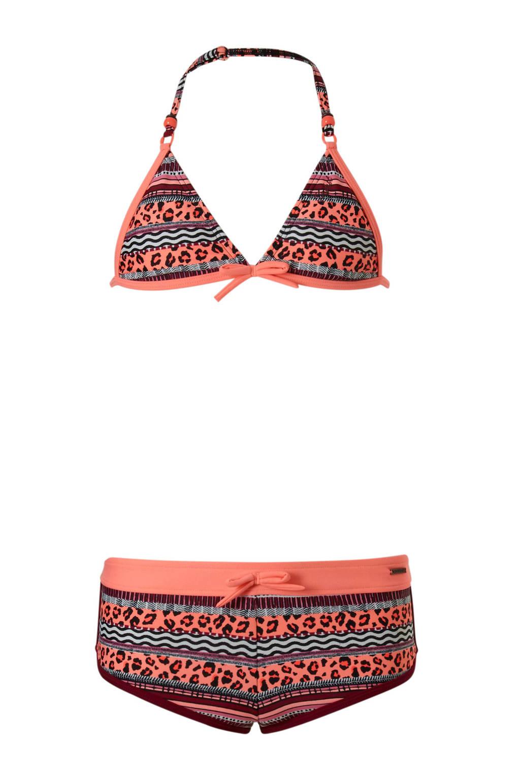 Protest triangel bikini met all-over print koraal, Koraalrood