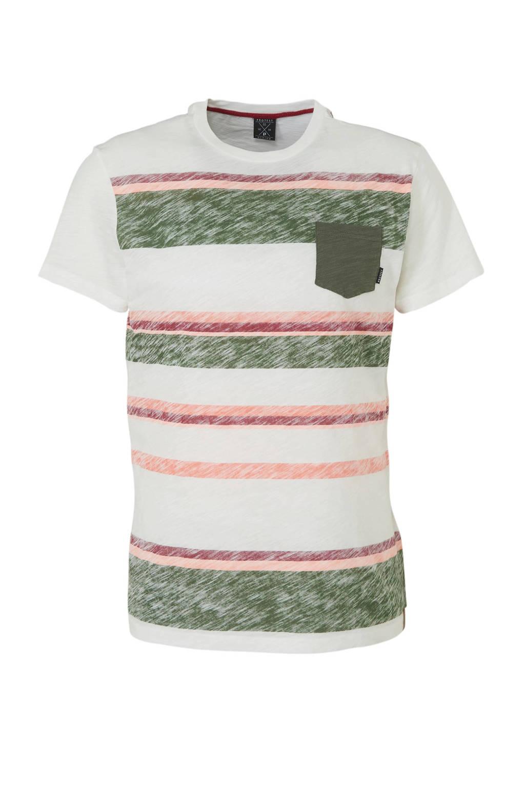 Protest gestreept T-shirt wit, Wit/groen