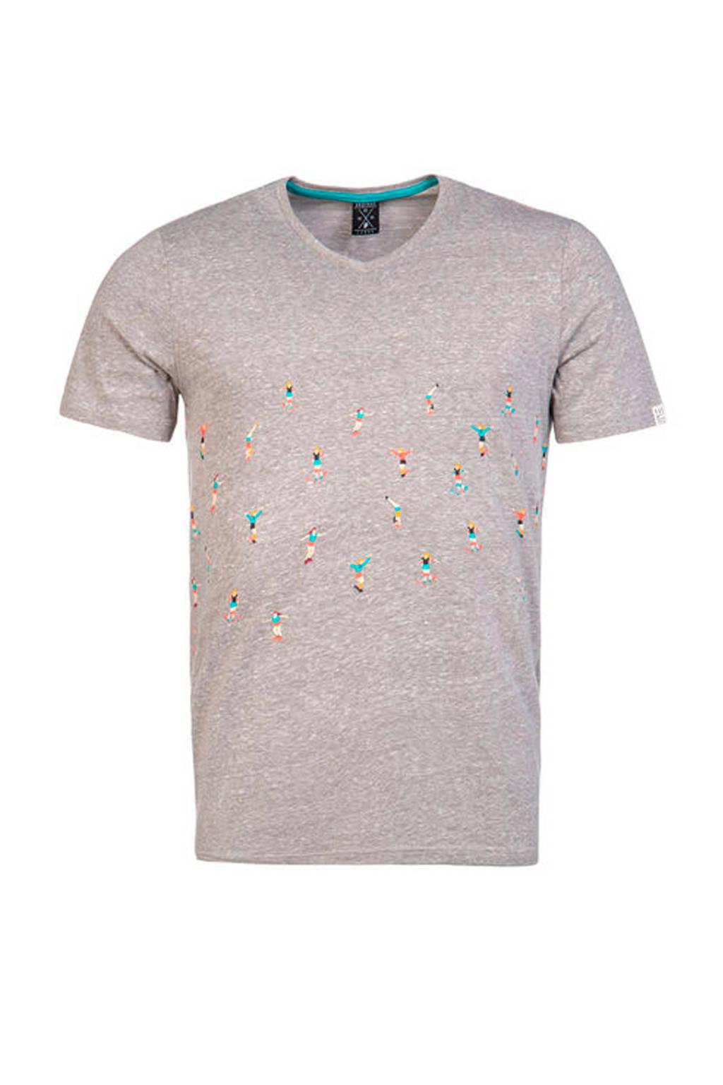 Protest gemêleerd T-shirt met print grijs, Grijs