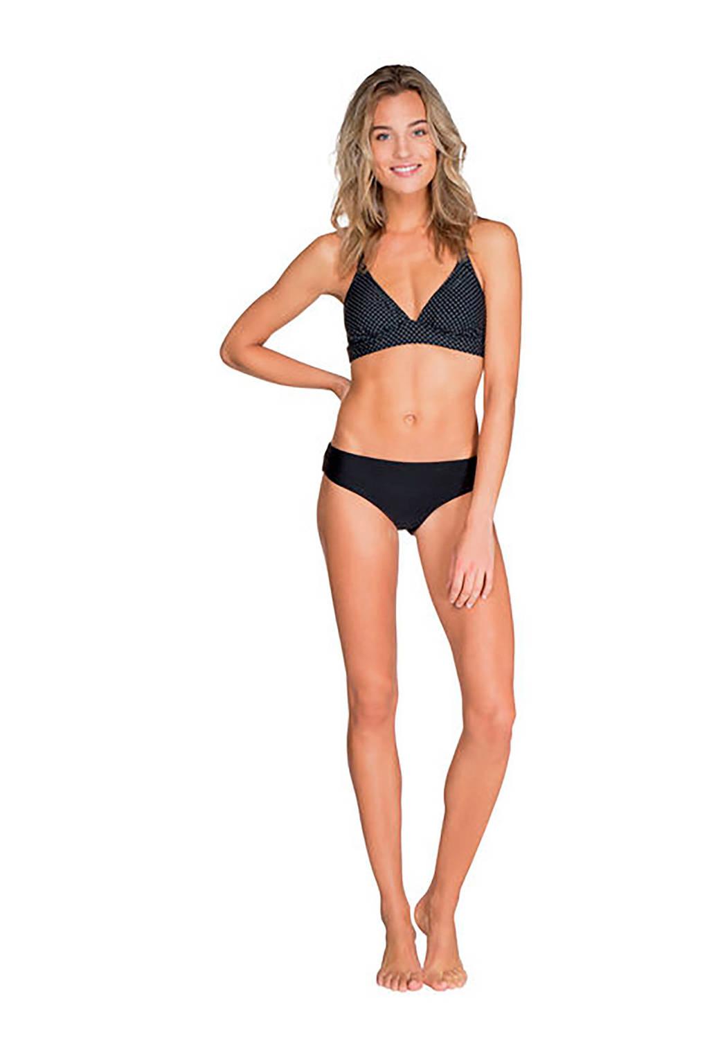 Protest bikinitop met extra bandjes in een all over print zwart, Zwart/wit