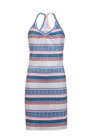 jersey strandjurk met all over print roze/wit/blauw