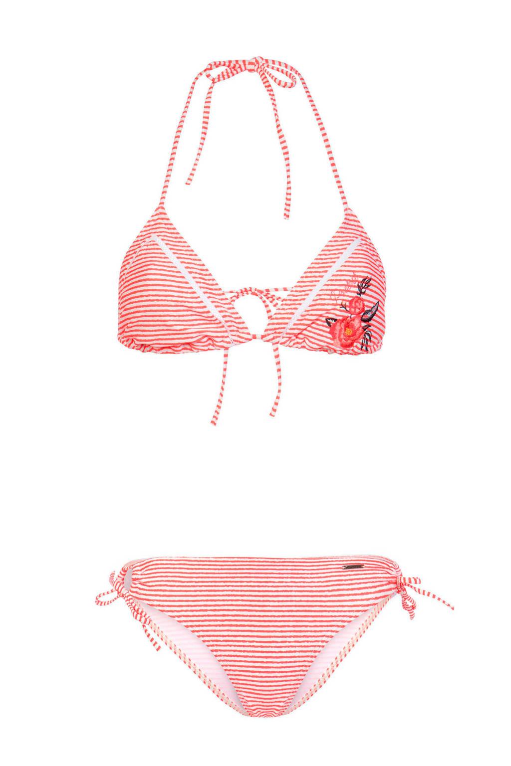Protest gestreepte triangel bikini rood, Rood/wit