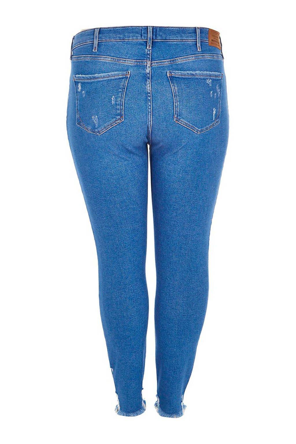 River Island Plus skinny jeans met slijtagedetails, Lichtblauw