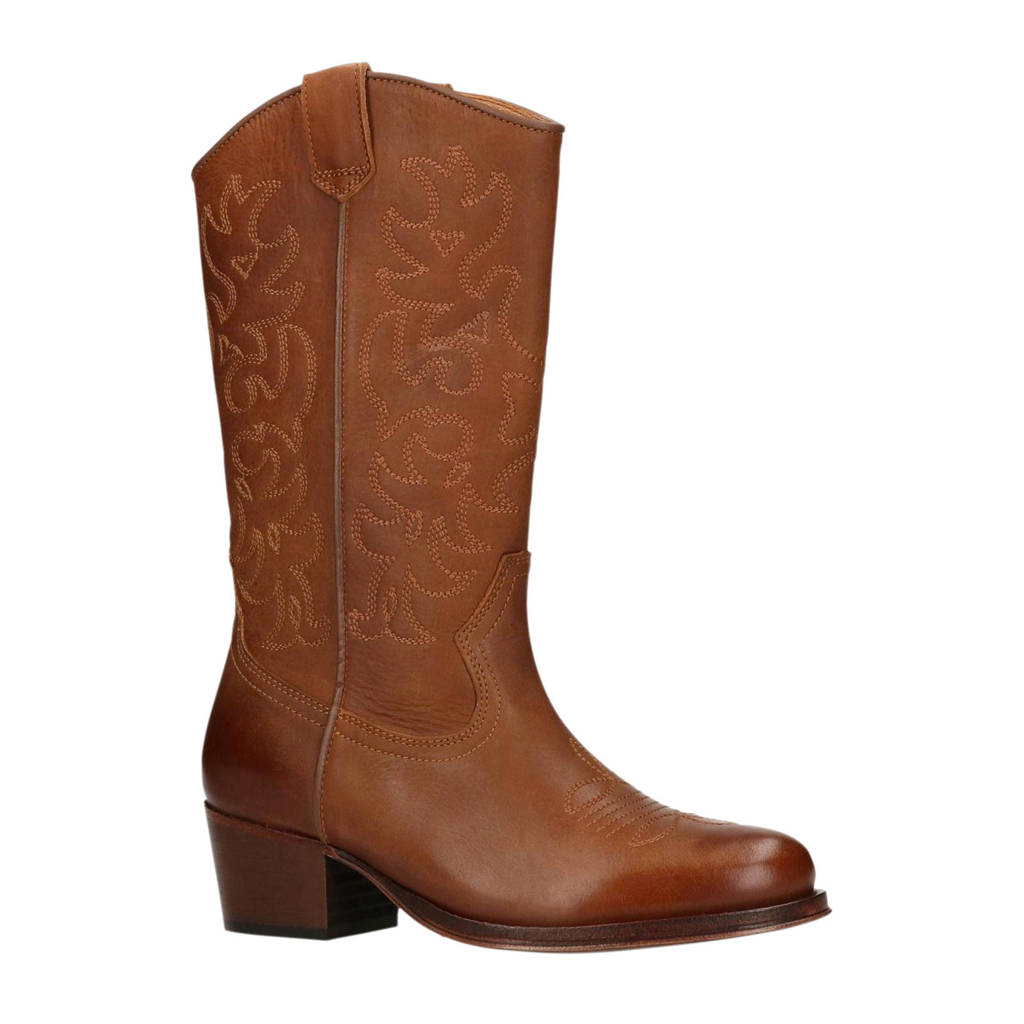 Manfield leren cowboy boots cognac, Cognac